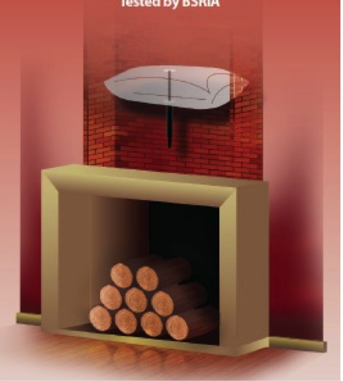 Chimney balloon fits into cut-away image of a chimney breast